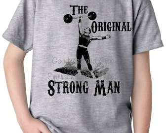 Strongest Man on Earth - Vintage Circus Shirt - Retro Vintage Distressed - Big Top Birthday Party - Circus Birthday - Circus Party Shirt Tee