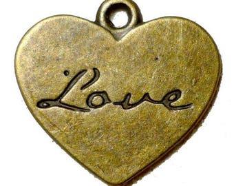 SET of 5 charm heart love bronze (R11)