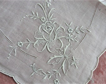 GORGEOUS Appenzell WEDDING Hanky Exquisite Embroidery Handkerchief Bridal Hankie Stunning Roses Embroidery,for Collector or Bridal Heirloom