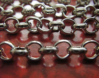 Silver Cross Chain - Chunky - Lewis Carroll - 10 Foot - Steampunk - Chunky - Antique Silver Cross Chain