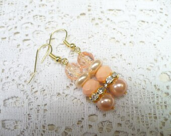 OOAK Handmade Orange Peachy PEARL Earrings - RHINESTONE accents - gold tone metal - pierced dangles - fall bridal -rustic orange -bridesmaid