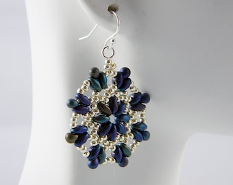 "READY TO SHIP Superduo Blue Iris and Silver Beadweaving Earrings ""Cobalt Blossom"""