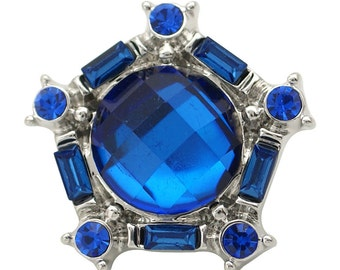 1 PC 18MM Blue Rhinestone Silver Candy Snap Charm ds5164 CC1679