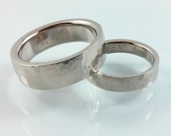 Sturdy Wedding Band-18kt White Gold Palladium Alloy-3.5mm width/1.5mm thickness-Hammered Textured-Comfort Fit-Custom Engraving Inside