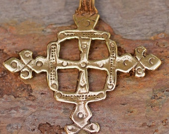Large Coptic Cross in Gold Bronze, R-338