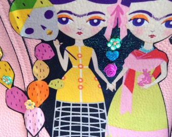 Pretty in pink Frida Kahlo twins funky upcycled shouder bag