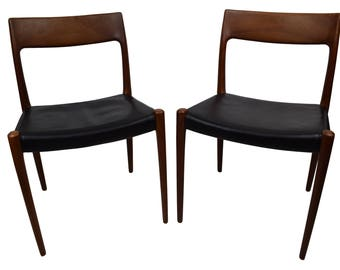 Pair of Danish midcentury teak chairs by Niels O. Møller, model 77, leather