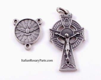 Holy Spirit Rosary Center with Celtic Crucifix Italian Rosary Medal Set | Italian Rosary Parts