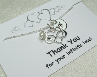 Bridesmaid Jewelry Set of 3 Will You Be My Bridesmaid Gift Initial Necklace Infinity Heart Bridesmaid Necklace Personalized Wedding Jewelry
