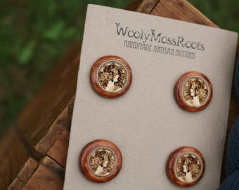 SALE! 4 Cameo Lady Buttons- Yellow Cedar Wood- Wooden Buttons- Eco Craft Supplies, Eco Knitting Supplies, Eco Sewing Supplies