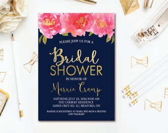 Floral Bridal Shower Invitation - Navy, Pink & Gold Bridal Shower Invite - Watercolor Floral Invitation - Navy Wedding Shower PRINTABLE