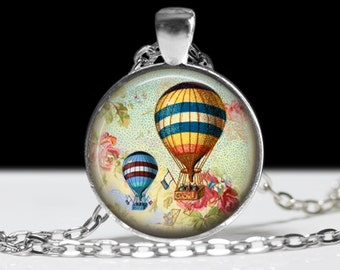 Steampunk Hot Air Balloon Wearable Art  Balloon Pendant Charm Blue Hot Air Balloon