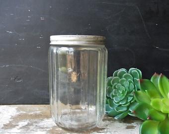 Vintage glass tea jar canister hoosier cabinet style  metal lid antique zipper pattern 12 sided farmhouse decor storage