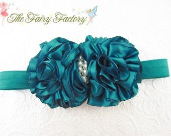 Peacock Blue Hair Bow, Ruffled Jade Blue Satin Bow with Pearls Headband or Hair Clip, Flower Girl, Wedding, Newborn Baby Child Girls