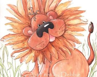 Cute Lion Wall Art - Safari Nursery Wall Art - Jungle Nursery  Watercolor Lion Art Print - Baby Lion Animal Print - 6 sizes, 5x7 to 24x36
