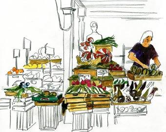 Italian Market Original Drawing