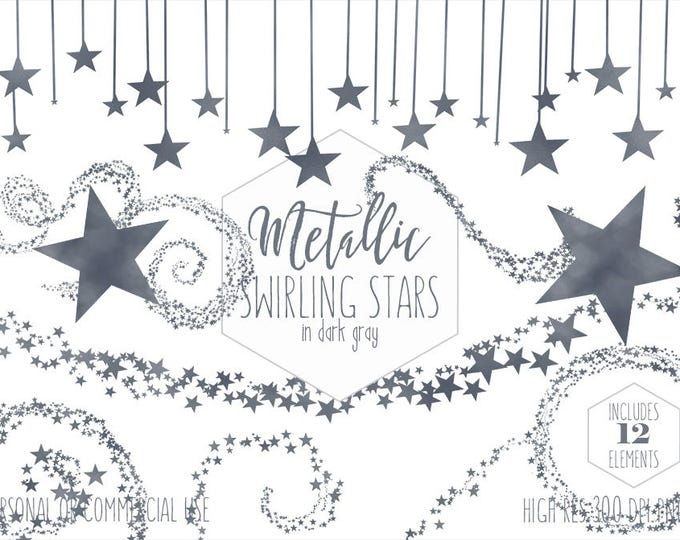 DARK GRAY STAR Clipart for Commercial Use Planner Clip Art Metallic Foil Celestial Borders Frames Night Sky Wedding Party Digital Graphics