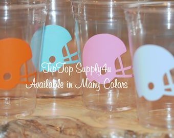 24 Football helmet 10 oz. 12 oz. or 16 oz. clear party cup for your party. Kids party, football or super bowl , baby shower, sprinkle. B-179
