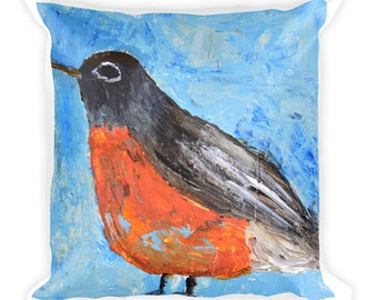 Square American Robin Bird Throw Pillow. Spring  Decorative Pillows Home Decor Art by Katie Jeanne