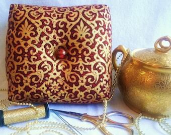 Elegant Box Pincushion, Scarlet and Gold Pincushion,Square Pincushion,Elegant Pincushion,Pincushion Pillow,Victorian Pincushion