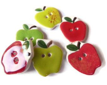 Set of 6 Country Apple Sewing Buttons, Notions or Quilt Embellishments, Novelty Fruit Buttons, Teachers, Children's Clothing