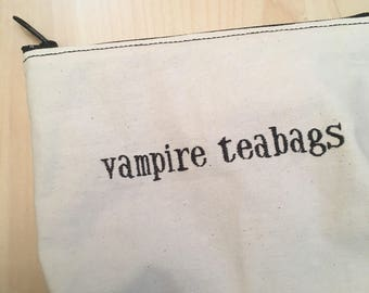 Embroidered Zipper Pouch-Vampire Teabags in Black (EZip 1)