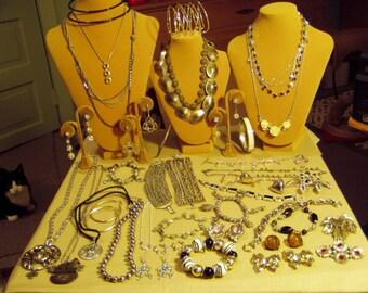Vintage Lot Silver Tone Necklaces Pins Earrings Bracelets 40 Pieces  9633
