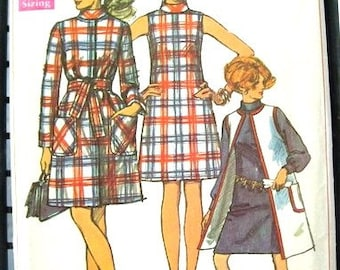 60s Simplicity 8155 Vintage Dress & Coat Sewing Pattern - Mod Minimalist - 1960s Mad Men - Bust 34