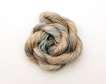 Grey and beige cross stitch floss, hand dyed stranded cotton embroidery thread, 20 metre (22 yd) skein, light brown, stone, granite, neutral