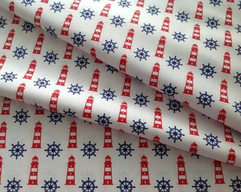 Promotion! Navy print cotton fabric 60 x 160 cm