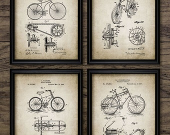Vintage Bicycle Patent Print Set Of 4 - Bicycle Design - Bicycle Patent - Bicycle Invention - Set Of Four Prints #468 - INSTANT DOWNLOAD