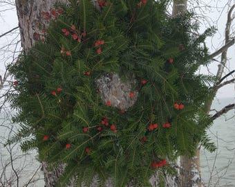 Fresh Balsam Fir Christmas Wreath with Rose Hips