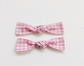 Pink Gingham- baby headbands or clips