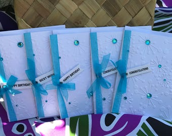 Turquoise Jewel Embossed Set of Five (5) Cards