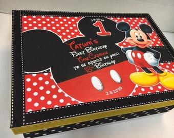 1st Birthday Time Capusule Keepsake box -CUSTOM Baby Mickey Theme