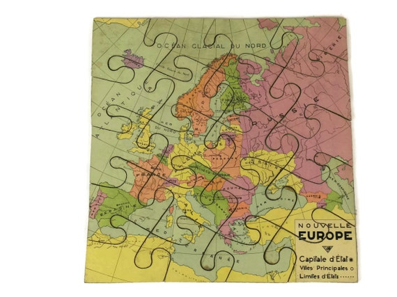 French vintage world map jigsaw puzzle map of europe wooden te gusta este artculo gumiabroncs Choice Image