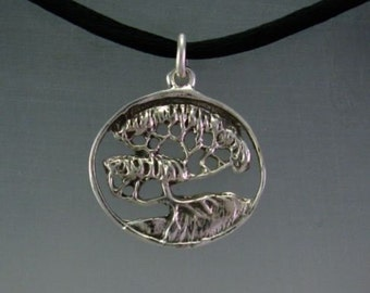 Old Cypress Pendant in Sterling Silver. Forest Life Tree Series Necklace.