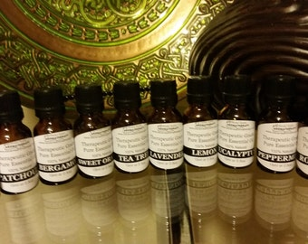 Ten essential oils collection, starter kit for those new to aromatherapy, most popular essential oils, 10 1/2 oz. bottles