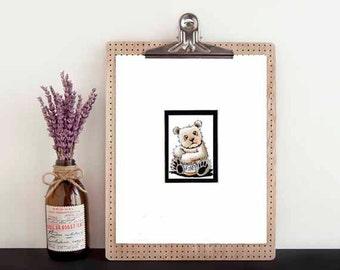 ORIGINAL Art Spirit Bear 8x10 Matted ACEO