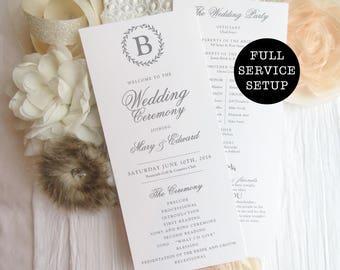 Wedding Programs  | Ceremony program  | Double Sided Programs - Style 08 - LAUREL Wreath COLLECTION