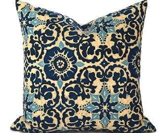 Outdoor Pillows Pillow Covers Decorative Pillows ANY SIZE Pillow Cover Outdoor Bryant Woodblock Prism Blue