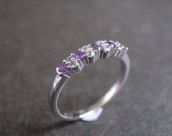 Amethyst and White Sapphire Wedding Ring