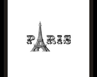 PARIS Eiffel Tower Black and White Printable Art Print
