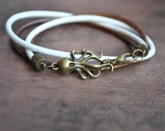 Octopus bracelet | wrap Leather octopus bracelet |  leather octopus bracelet | pulsera cuero con pulpo | octopus wristband | Lederarmband
