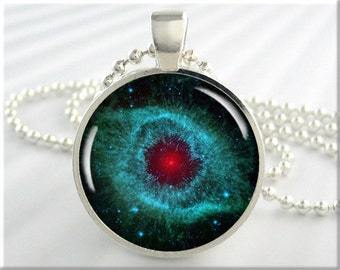 Helix Nebula Pendant, The Helix Nebula, Space Necklace, Hubble Picture, Resin Charm, Picture Pendant, Round Silver, Space Gift 011RS