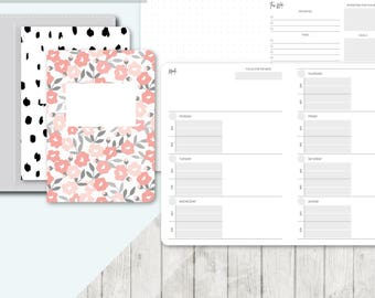 TN A6 Size: Undated Week on 2 Pages Functional Collab, Printable Travelers Notebook Insert, A6 Tn, Printable Planner, Weekly, Wo2P