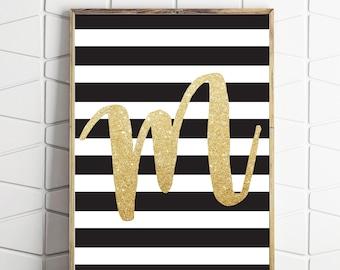 monogram M printable, letter printable M, wall gallery art, monogram print, digital art print, monogram mondern art