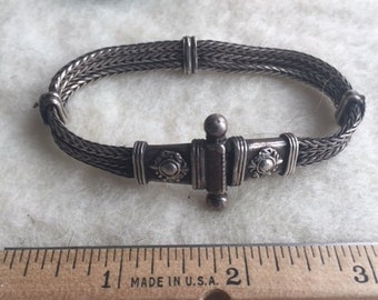 antique Balinese silver bracelet - triple strands with screw-latch