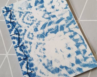Bounded notebook lace 12.3x17cm - Notebook-Cyanotype-notebook journal blue binding Japanese-notebook japanese binding-Easter gift