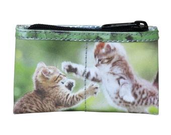 Zip coin purse for cat lovers - FREE SHIPPING - cat purse,  kitten print, mini zipper pouch,  cat makeup organizer, cosmetic makeup purse